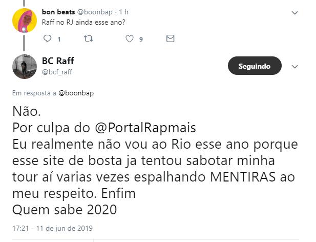 Raffa Moreira diz que não fará shows no Rio de Janeiro por culpa do Portal Rap Mais 2