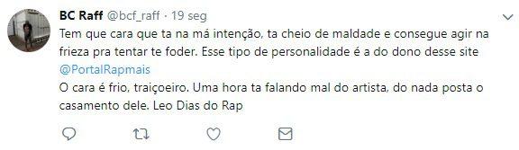 Raffa Moreira se irrita e ataca Portal Rap Mais nas redes sociais 2