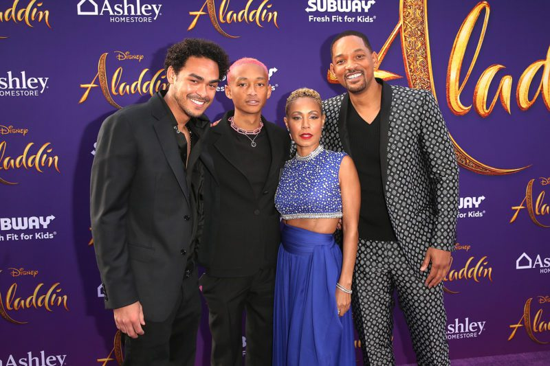 """LOS ANGELES, CA - MAY 21: (L-R) Trey Smith, Jaden Smith, Jada Pinkett Smith and Will Smith attend the World Premiere of Disney?s """"Aladdin"""" at the El Capitan Theater in Hollywood CA on May 21, 2019, in the culmination of the film?s Magic Carpet World Tour with stops in Paris, London, Berlin, Tokyo, Mexico City and Amman, Jordan.  (Photo by Jesse Grant/Getty Images for Disney)"""
