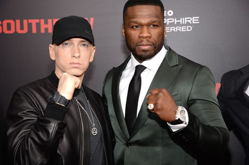 """NEW YORK, NY - JULY 20:  Eminem and 50 Cent attend the """"Southpaw"""" New York premiere at AMC Loews Lincoln Square on July 20, 2015 in New York City.  (Photo by Kevin Mazur/WireImage)"""