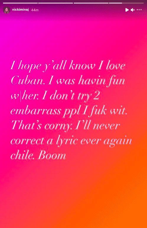 Mensagem da Nicki Minaj e Cuban Doll